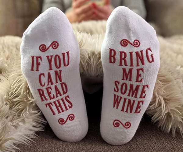 White Elephant Teacher Gift Stocking Stuffer Drinking Gifts Wine Socks for Man Gift for Best Friend Wine Socks For Women Wine Socks