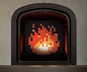 8 Bit Fireplace Art