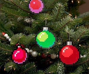 8-Bit Pixelated Tree Ornaments