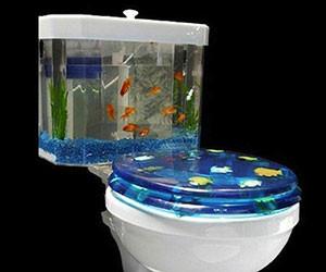 gold toilet seat cover.  Fishbowl Toilet