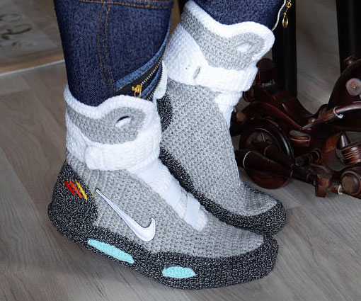 best website 45ad2 e7afa Back To The Future Knitted Slippers