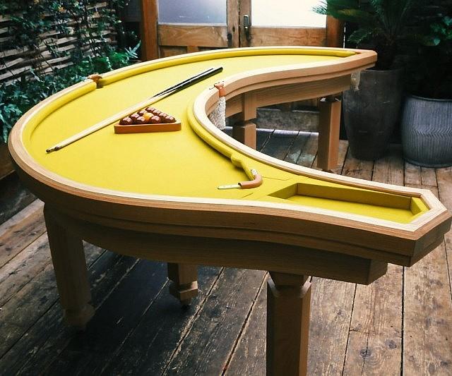 Banana pool table for Koi pond pool table