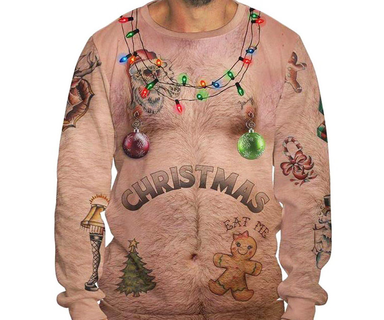 Bare Chest Ugly Christmas Sweater - coolthings.us