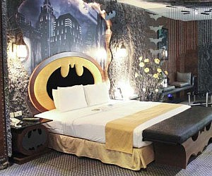 Simple Batman Themed Hotel Room