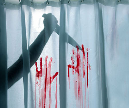 Red And Turquoise Shower Curtain. Bloody Shower Curtain