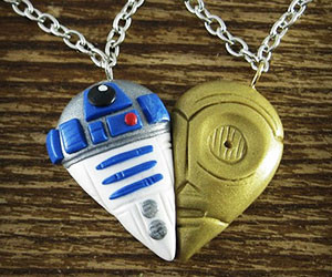 C-3PO R2-D2 Heart Necklace