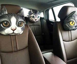 Feline Car Headrest Pillow