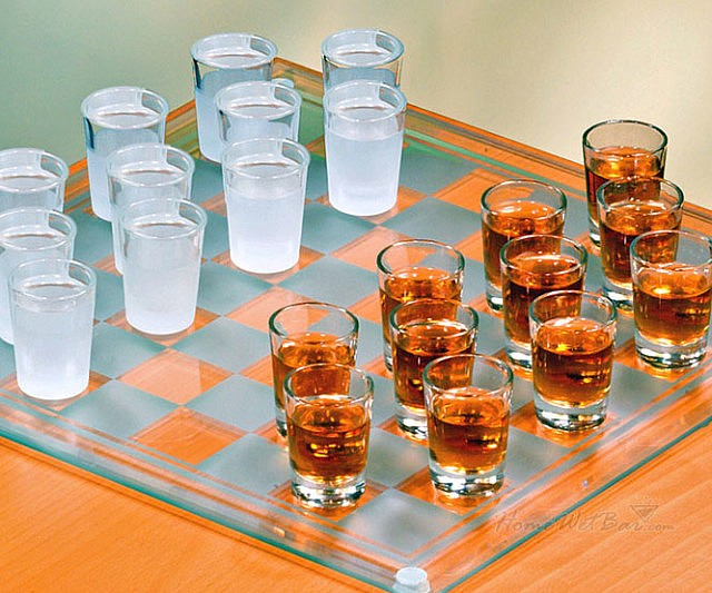 Checkers Shotglass Drinking Game