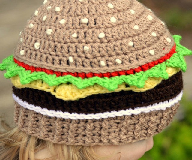 Cheeseburger Crochet Beanie 4394ea740998