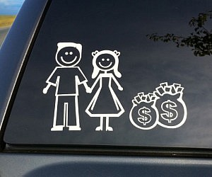 WHITE Vinyl Sticker Decal Details about  /Married Family No Kids Money  BIG Y7-2.780