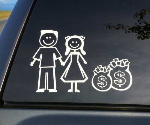 Childless dual income family car decal 5 45
