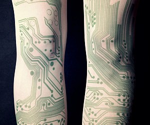 Circuit Board Tattoo Tights