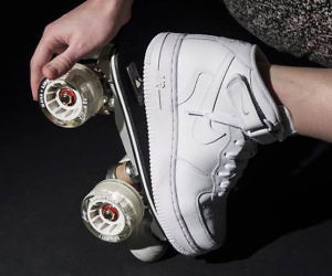 shoes with roller blades in them