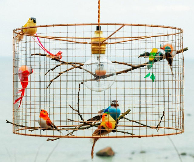 Copper birdcage pendant light chandelier aloadofball Choice Image
