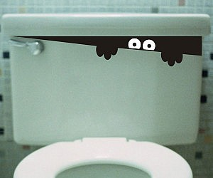 Peeking Toilet Monster Decal