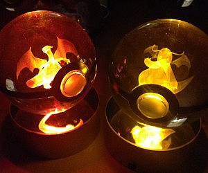 COOL GADGET# CRYSTAL ENGRAVED POKEBALLS