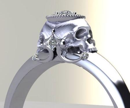 Diamond Skull Engagement Rings