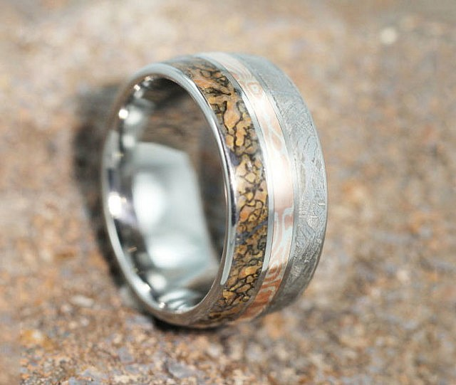 meteorite and dinosaur bone ring - Dinosaur Bone Wedding Ring