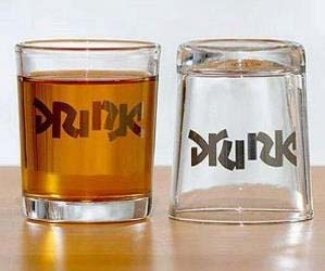 Drunk Ambigram Shot Glasses