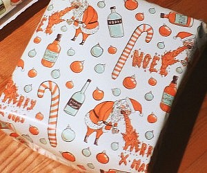 drunk santa gift wrapping paper