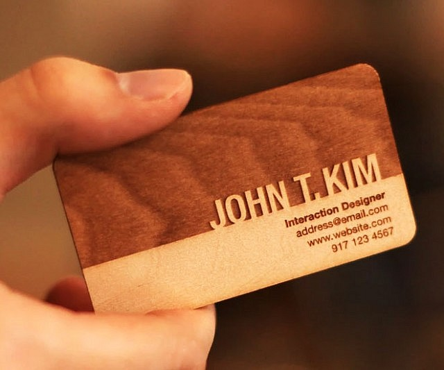Engraved wooden business cards reheart Choice Image