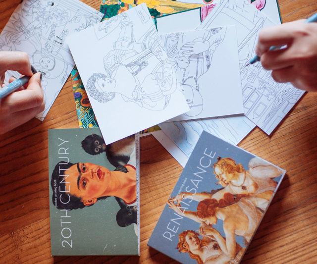 Famous Artwork Coloring Postcards