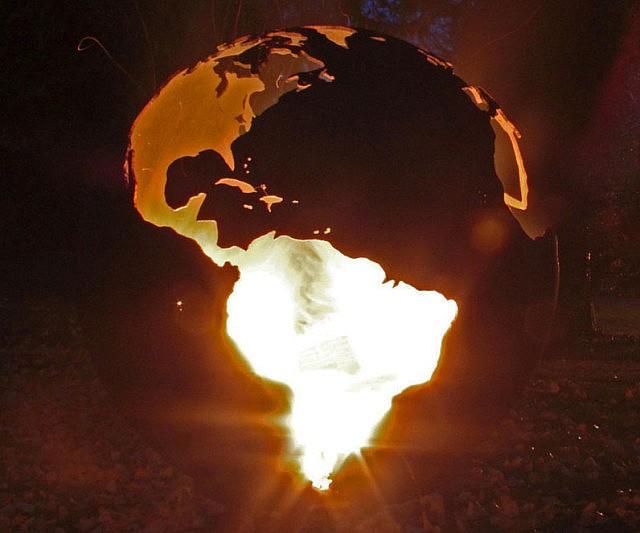 - World Globe Fire Pit