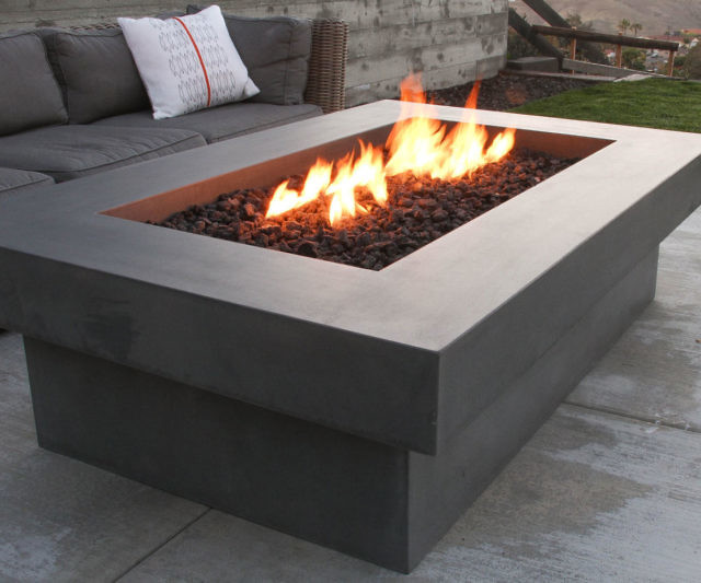 concrete bowl fire pit diy table block 60 in brown round kit