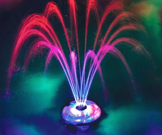 Floating lighted pool fountain - Swimming pool fountains and lights ...