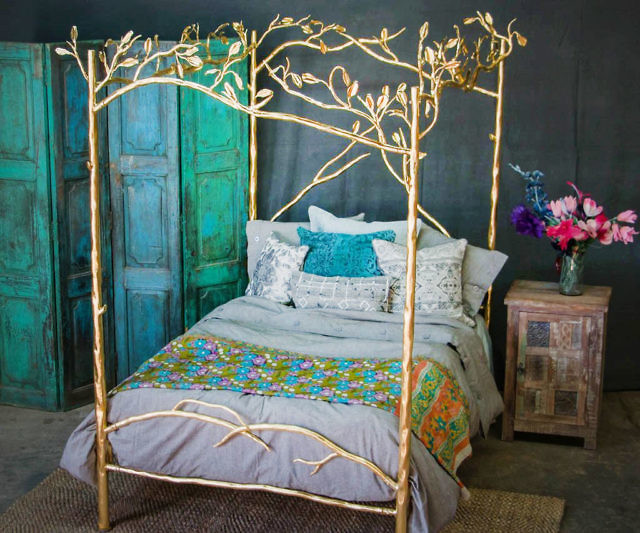 Gold Forest Canopy Bed