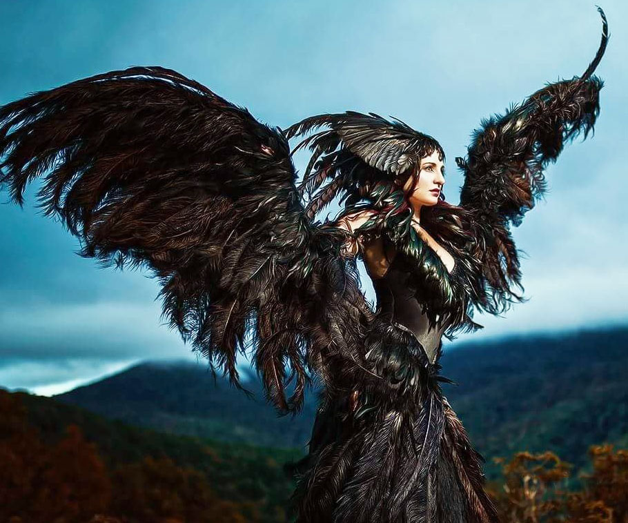Fully Articulating Black Feather Wings