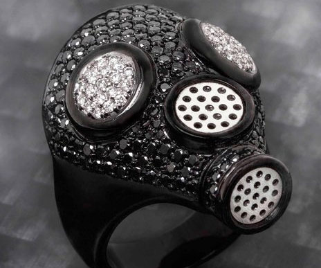 Gas Mask Diamond Ring