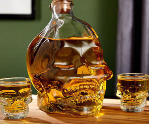 Skull Decanter and Shot Glass Set