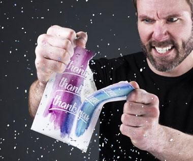 Prank Glitter Bomb Thank You Card