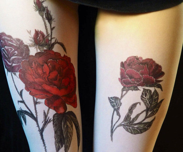 Red Rose Tattoo Pantyhose