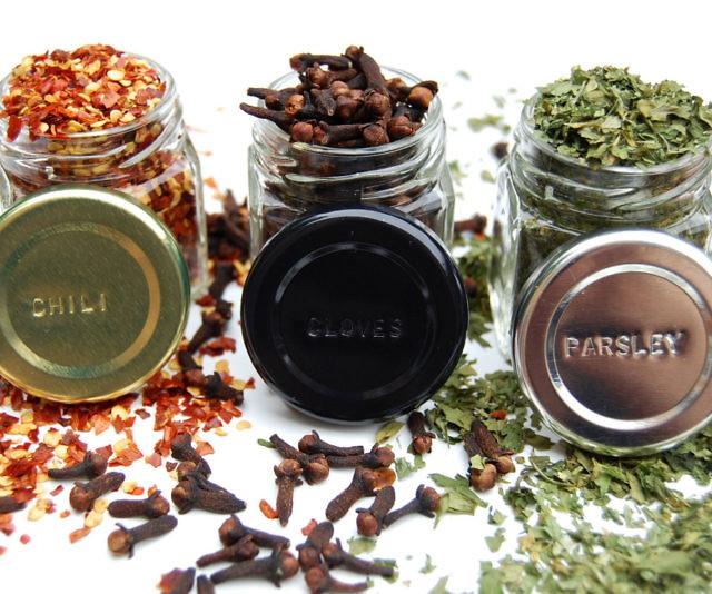 hexagon glass magnetic spice jars