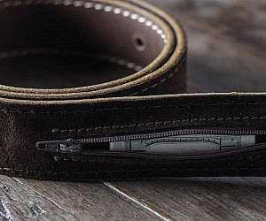 Hidden Pocket Leather Belt
