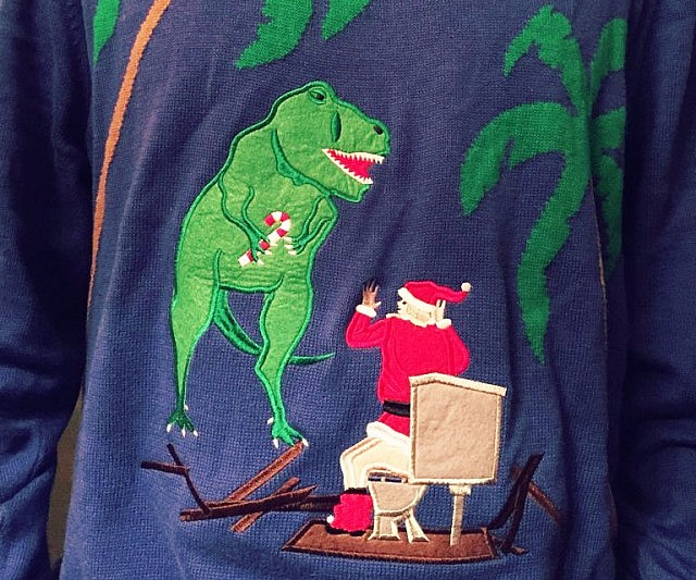 T Rex Ugly Christmas Sweater.Toilet T Rex Attack Ugly Christmas Sweater