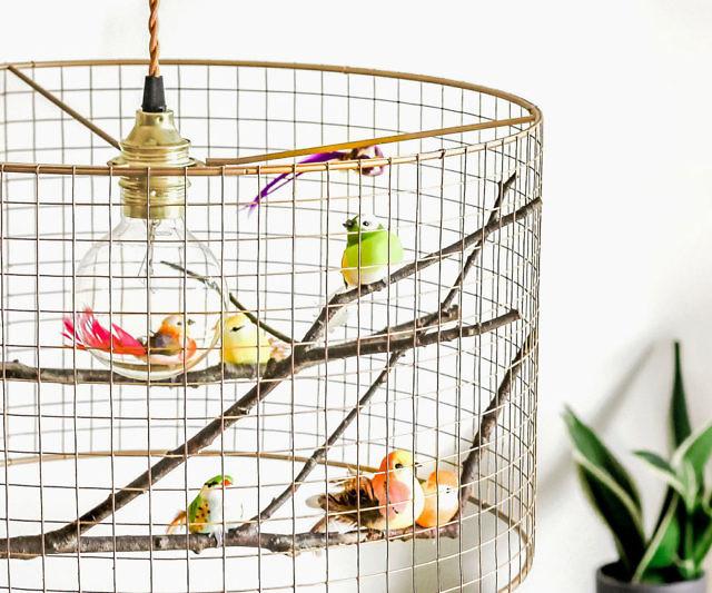Copper birdcage pendant light chandelier aloadofball Image collections