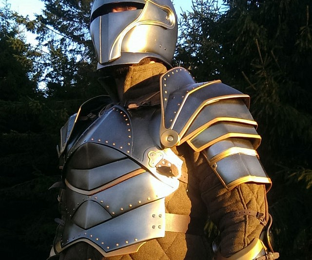Intimidating man in suit of armor