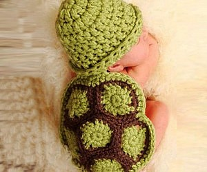 Knitted Crochet Turtle Beanie and Shell