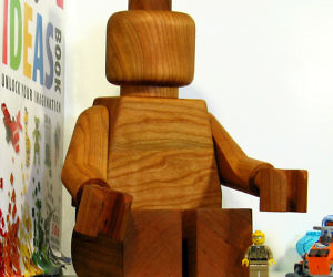 Giant Wooden LEGO Man Sculpture