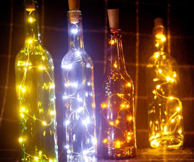 glass bottle lamp table led wine bottle lamp set