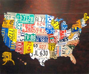 USA License Plates Map