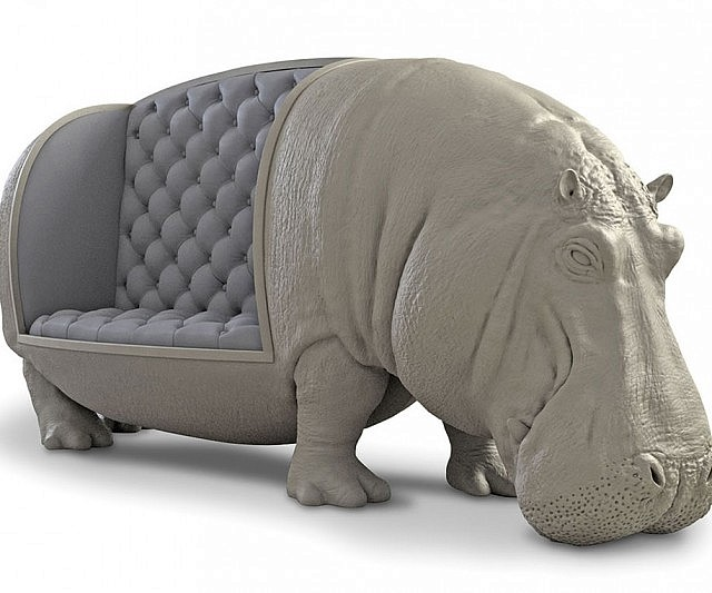 Life Size Hippopotamus Sofa