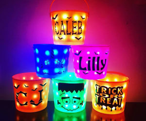 Light Up Trick-Or-Treat Buckets