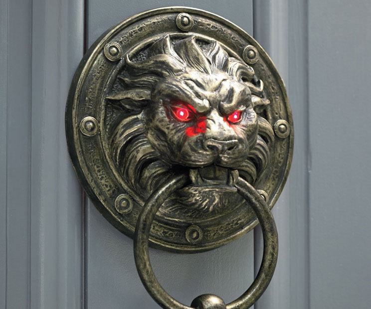 Glowing Eyes Lion Door Knocker