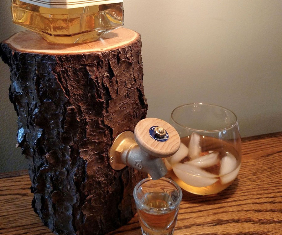 Log Shaped Liquor Dispenser