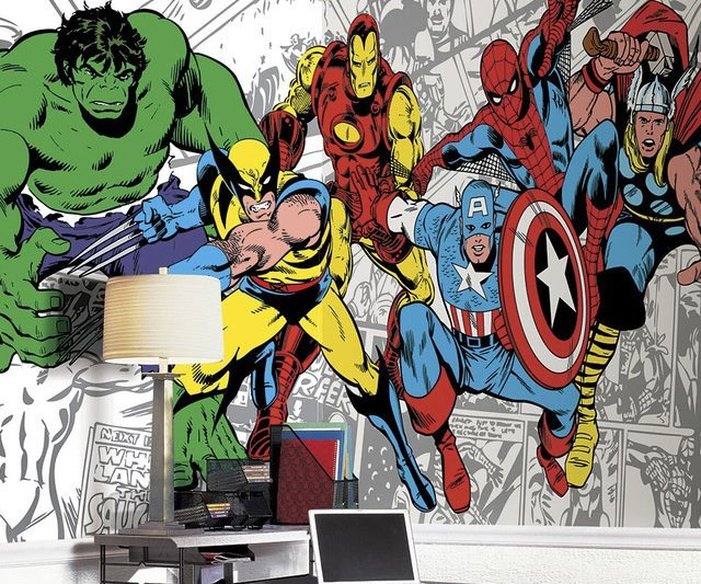 Image gallery marvel mural for Comic book wallpaper mural