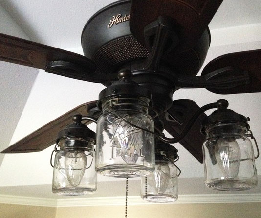Mason jar ceiling fan light aloadofball Image collections